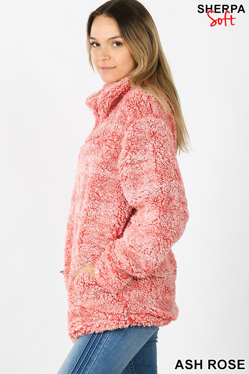 Left side view image of Ash Rose Popcorn Sherpa Half Zip Pullover with Side Pockets