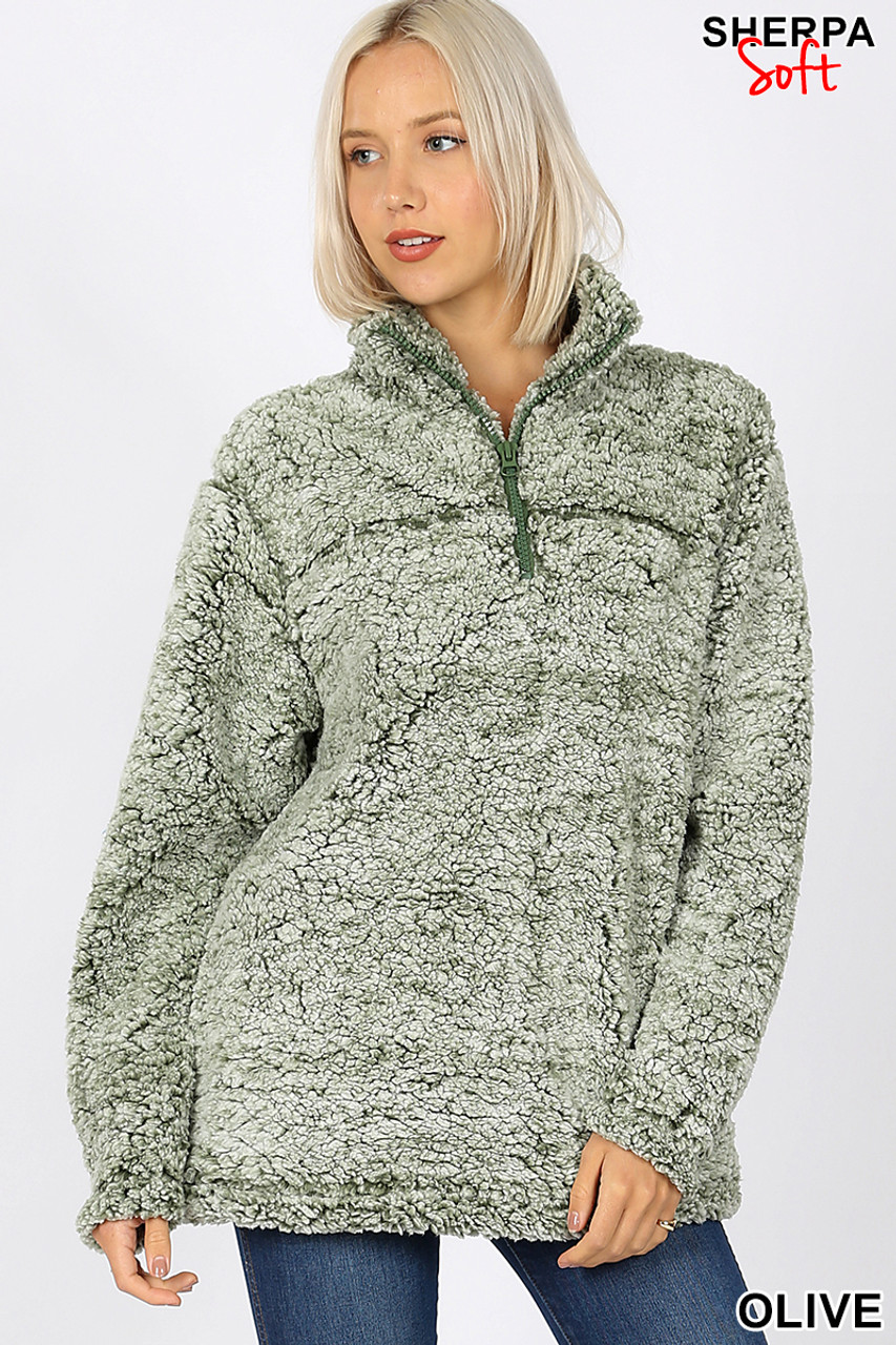 Front image view of Olive Popcorn Sherpa Half Zip Pullover with Side Pockets