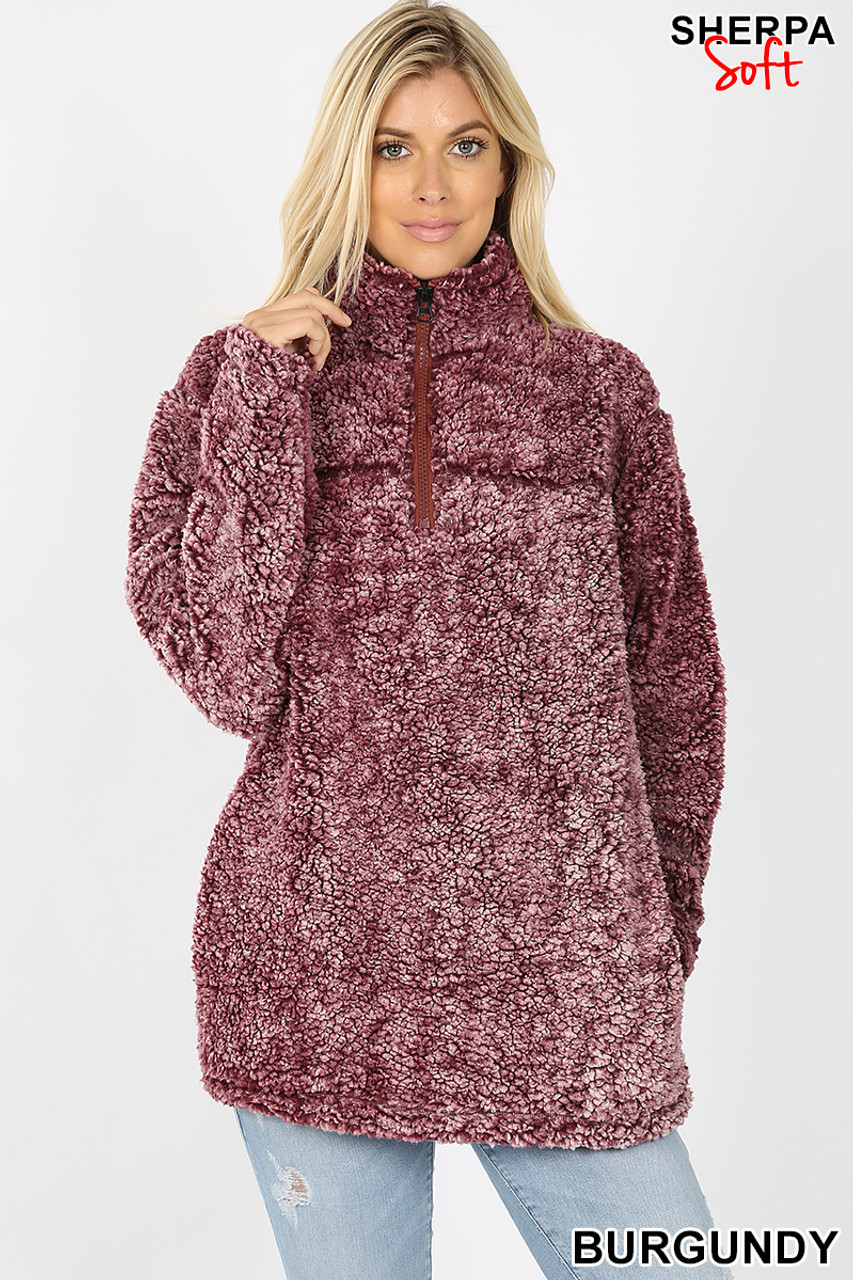 Front image view of burgundy Popcorn Sherpa Half Zip Pullover with Side Pockets