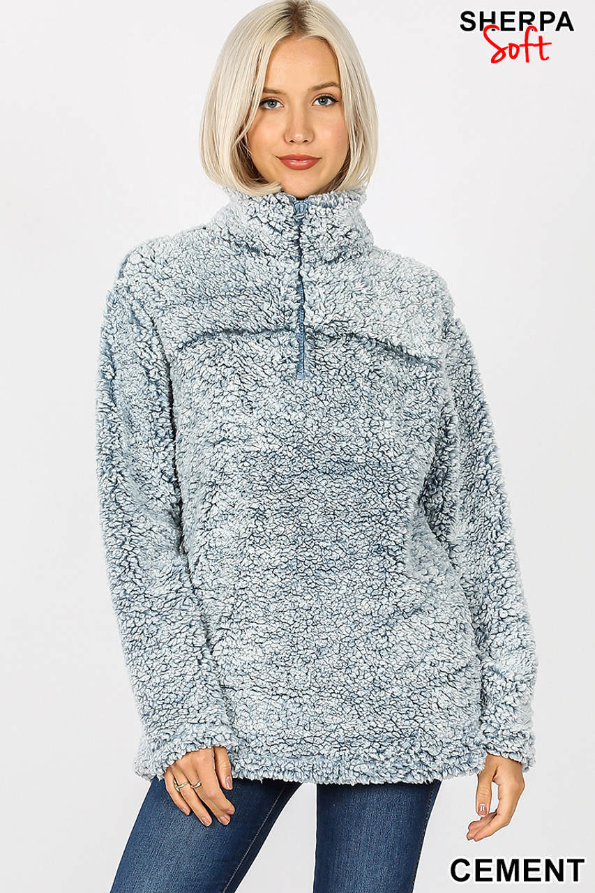 Front view image of cement Popcorn Sherpa Half Zip Pullover with Side Pockets