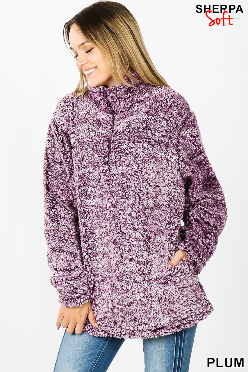 Front view image of plum Popcorn Sherpa Half Zip Pullover with Side Pockets