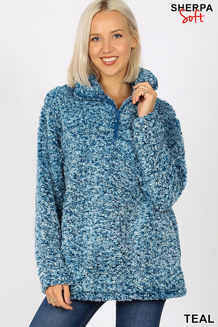 Front view image of teal Popcorn Sherpa Half Zip Pullover with Side Pockets