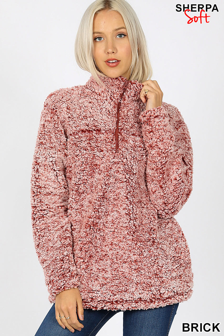 Front view image of brick Popcorn Sherpa Half Zip Pullover with Side Pockets
