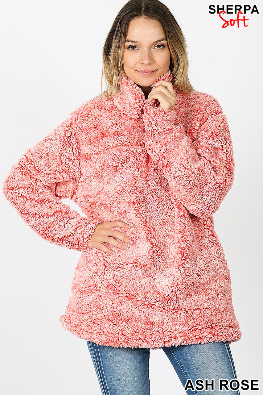 Front view image of Ash Rose Popcorn Sherpa Half Zip Pullover with Side Pockets