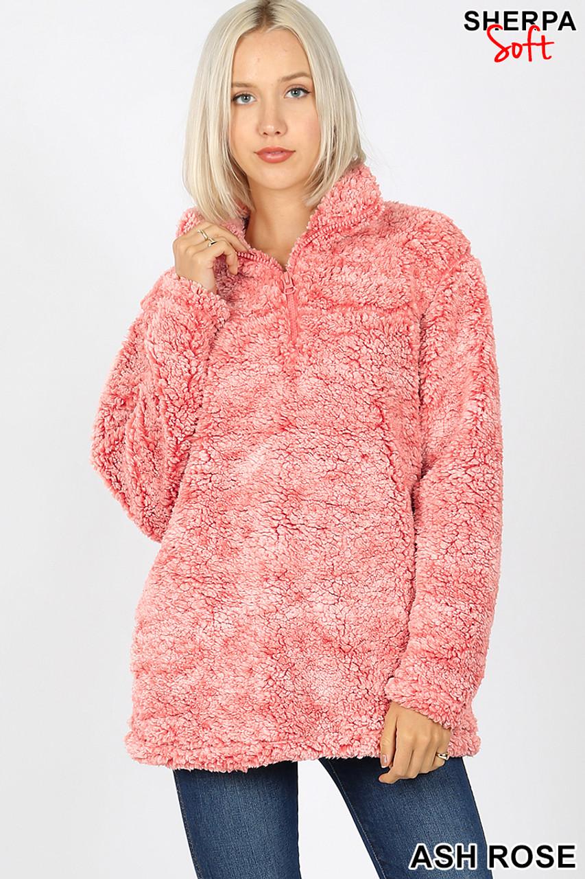 Ash Rose Popcorn Sherpa Half Zip Pullover with Side Pockets