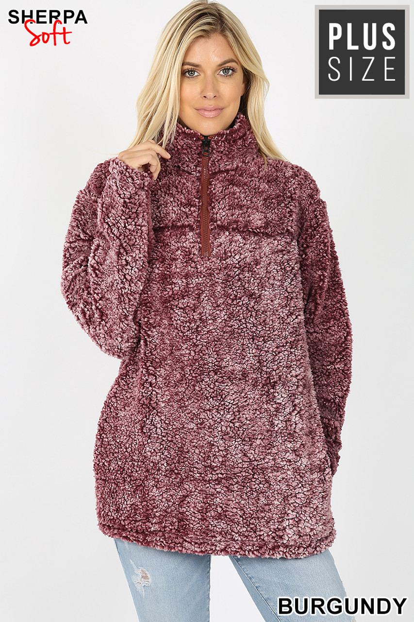 Front view image of Burgundy Popcorn Sherpa Half Zip Plus Size Pullover with Side Pockets