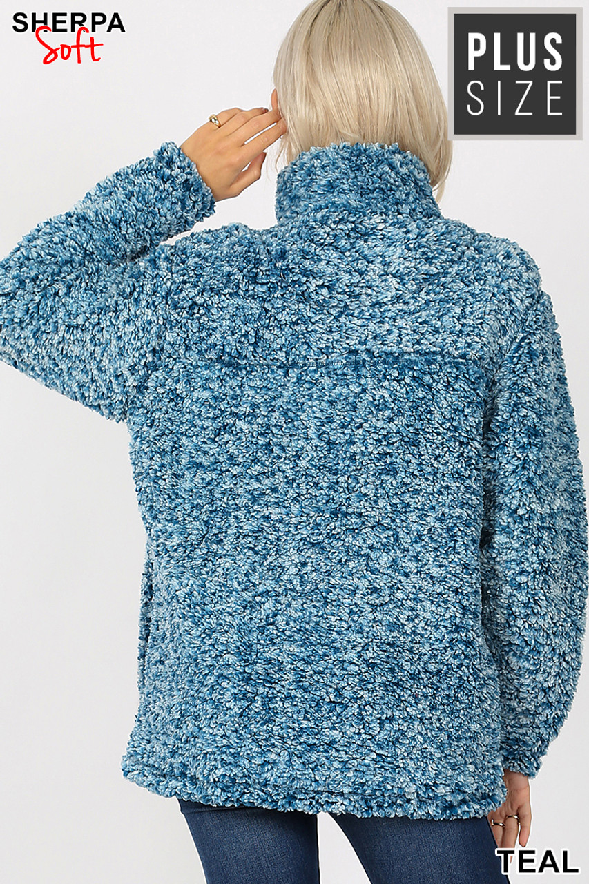 Front view image of Teal Popcorn Sherpa Half Zip Plus Size Pullover with Side Pockets
