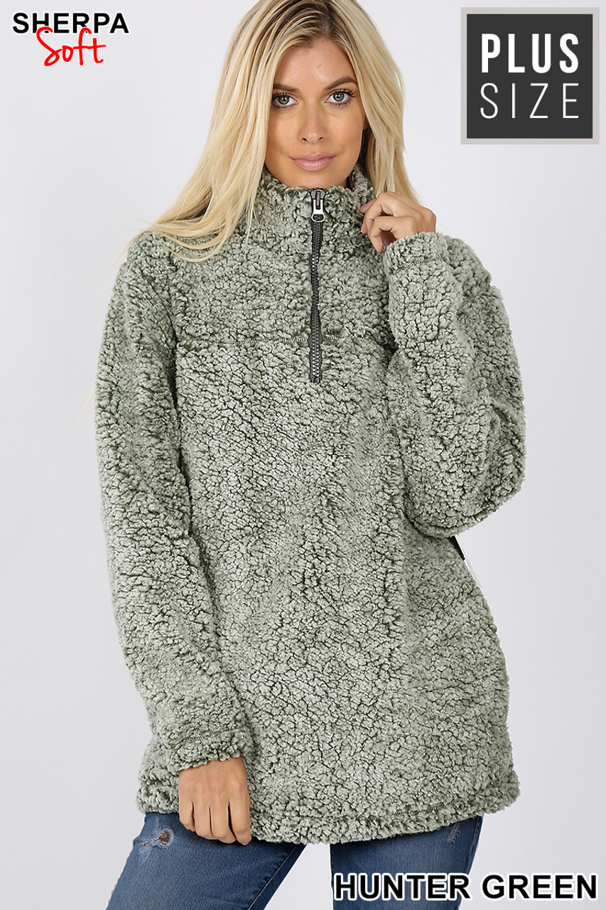 Front view image of Hunter Green Popcorn Sherpa Half Zip Plus Size Pullover with Side Pockets