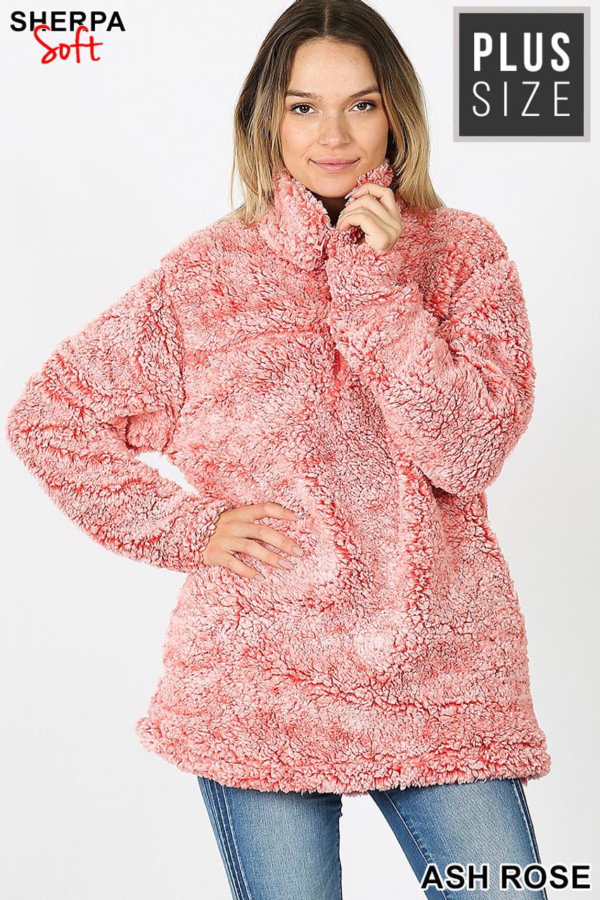 Front view image of Ash Rose Popcorn Sherpa Half Zip Plus Size Pullover with Side Pockets