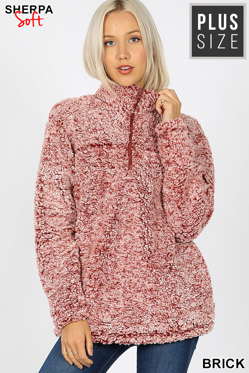 Front view image of  Brick Popcorn Sherpa Half Zip Plus Size Pullover with Side Pockets