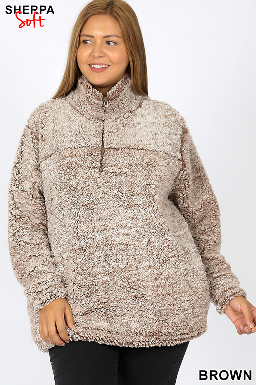Front view image of Brown Popcorn Sherpa Half Zip Plus Size Pullover with Side Pockets