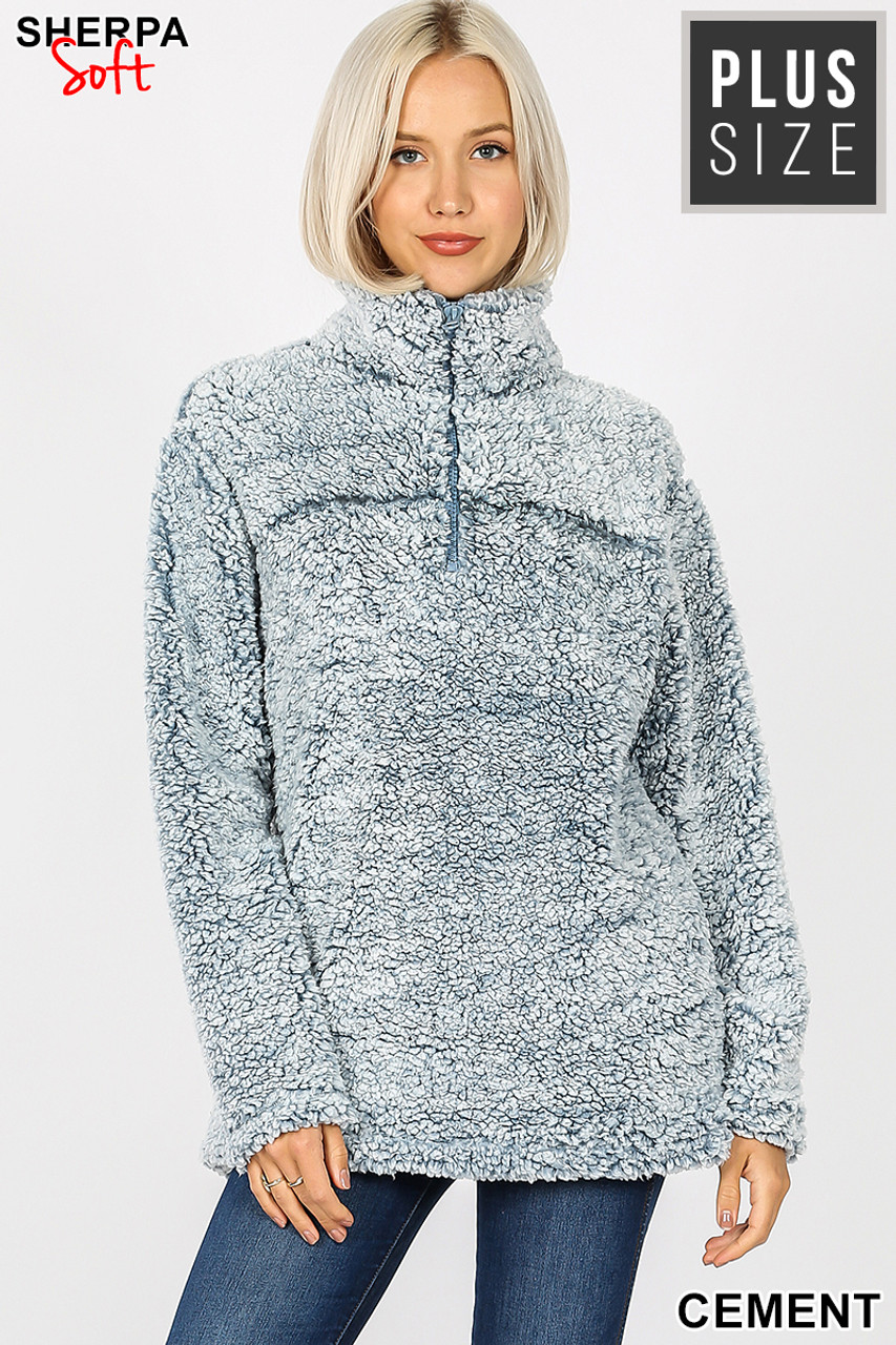 Front view image of cement Popcorn Sherpa Half Zip Plus Size Pullover with Side Pockets