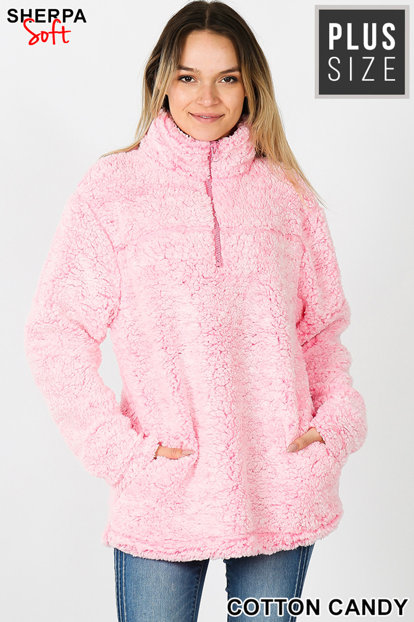 Front view image of Cotton Candy Popcorn Sherpa Half Zip Plus Size Pullover with Side Pockets