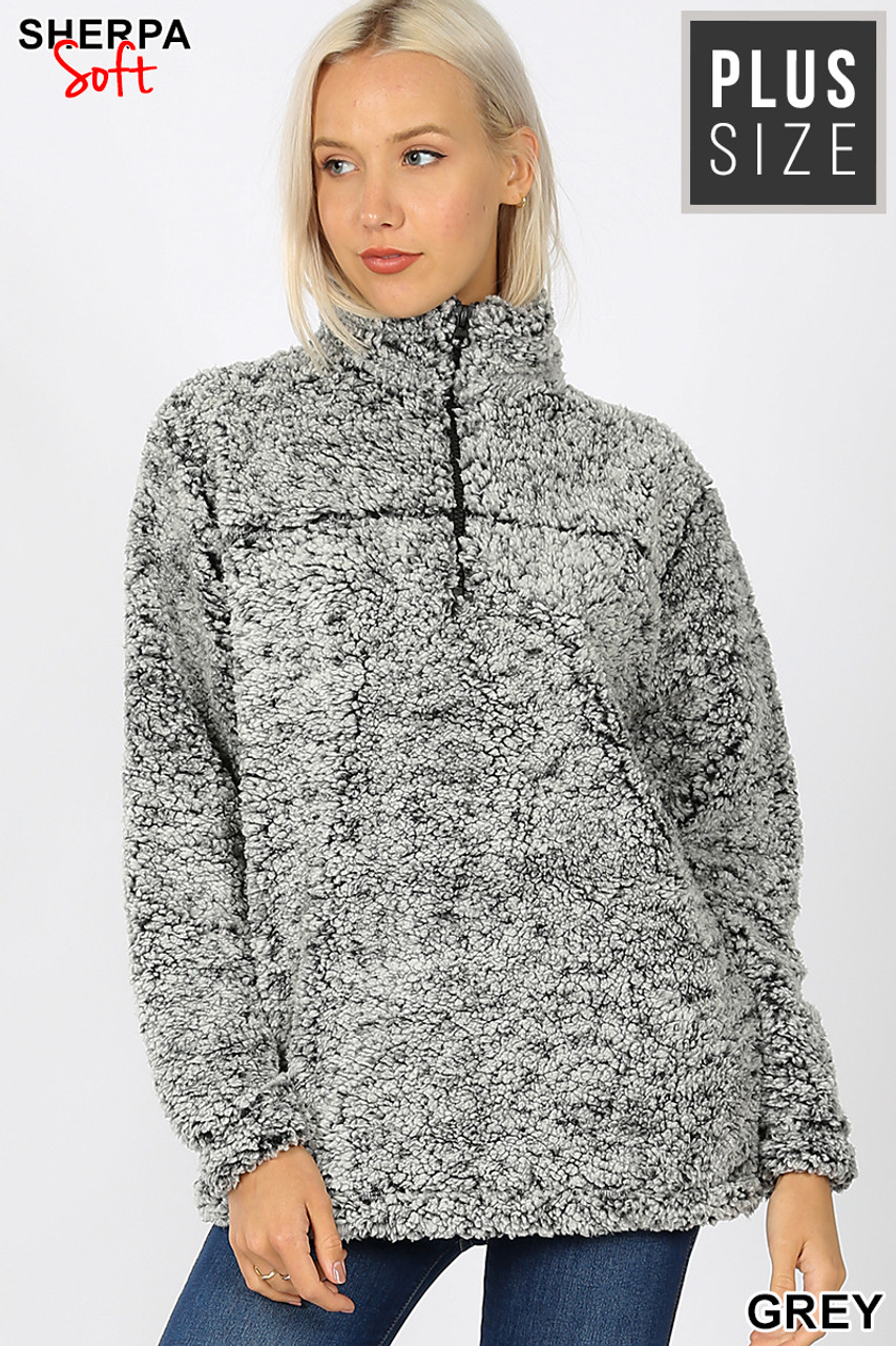 Front view image of Gray Popcorn Sherpa Half Zip Plus Size Pullover with Side Pockets
