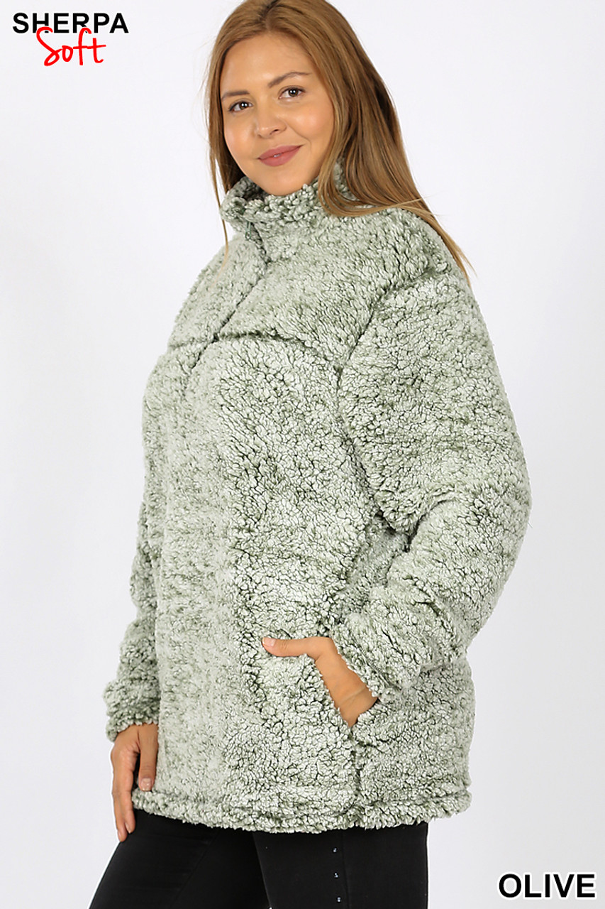 Front view image of Olive Popcorn Sherpa Half Zip Plus Size Pullover with Side Pockets