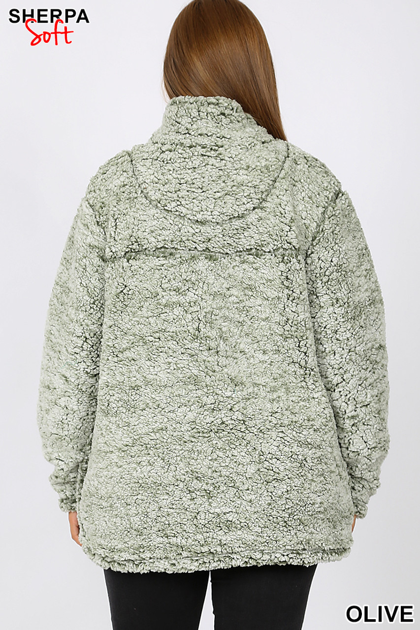 Back view image of olive Popcorn Sherpa Half Zip Plus Size Pullover with Side Pockets