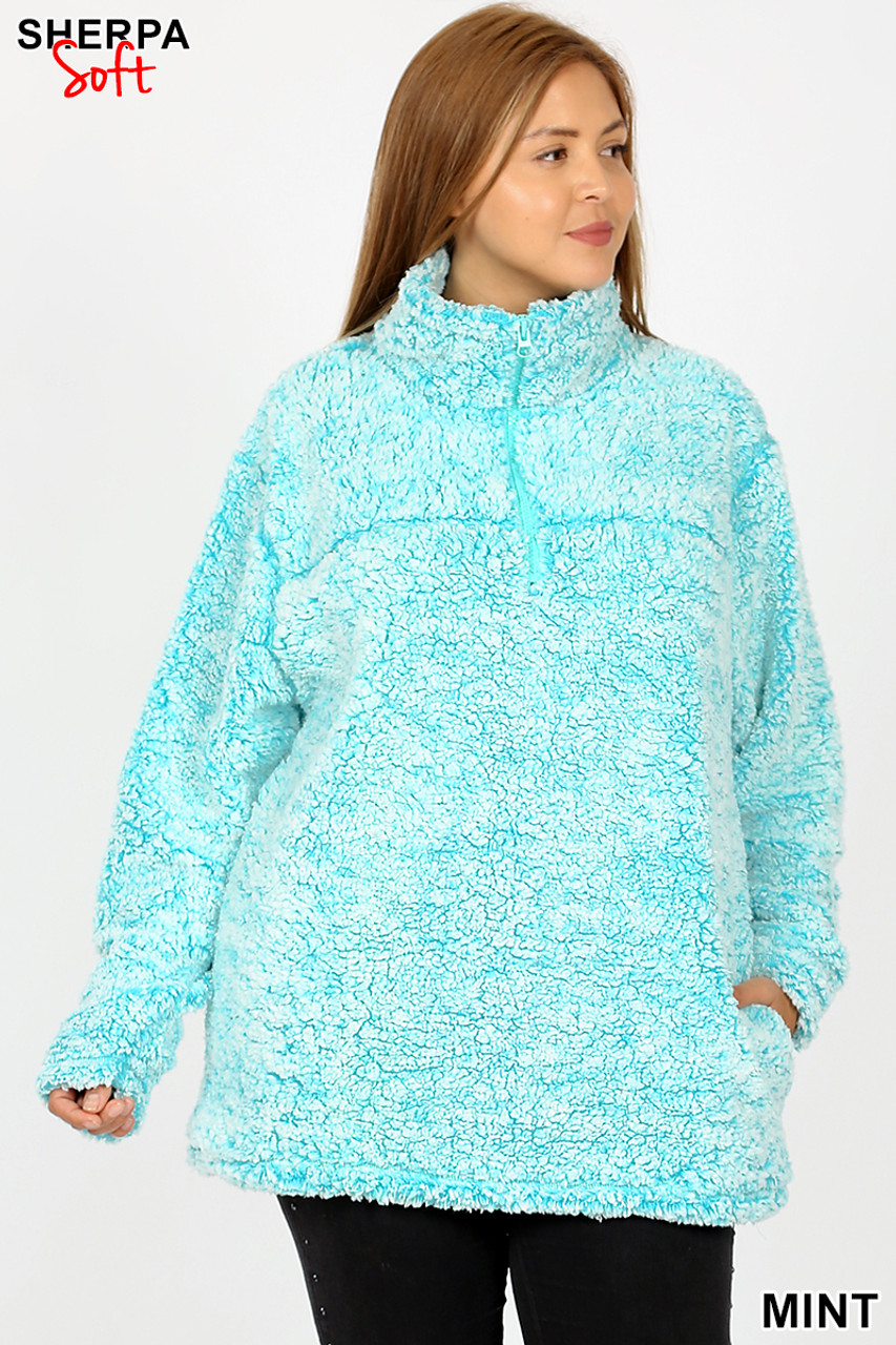 Front view image of mint Popcorn Sherpa Half Zip Plus Size Pullover with Side Pockets