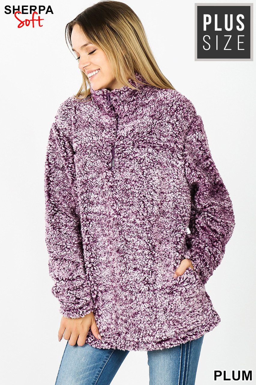 Front view image of plum Popcorn Sherpa Half Zip Plus Size Pullover with Side Pockets