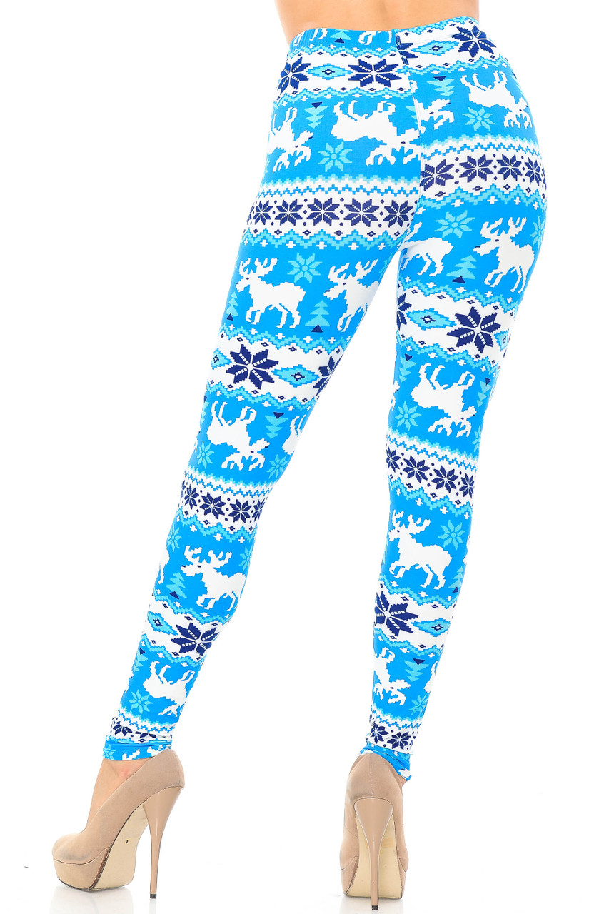 Rear view image of our flattering body-hugging Buttery Soft Icy Blue Christmas Reindeer Extra Plus Size Leggings - 3X-5X