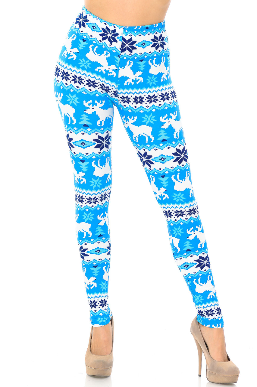 Front view of our full length skinny leg cut Buttery Soft Icy Blue Christmas Reindeer Extra Plus Size Leggings - 3X-5X with a vibrant look that will add color to your winter wardrobe.