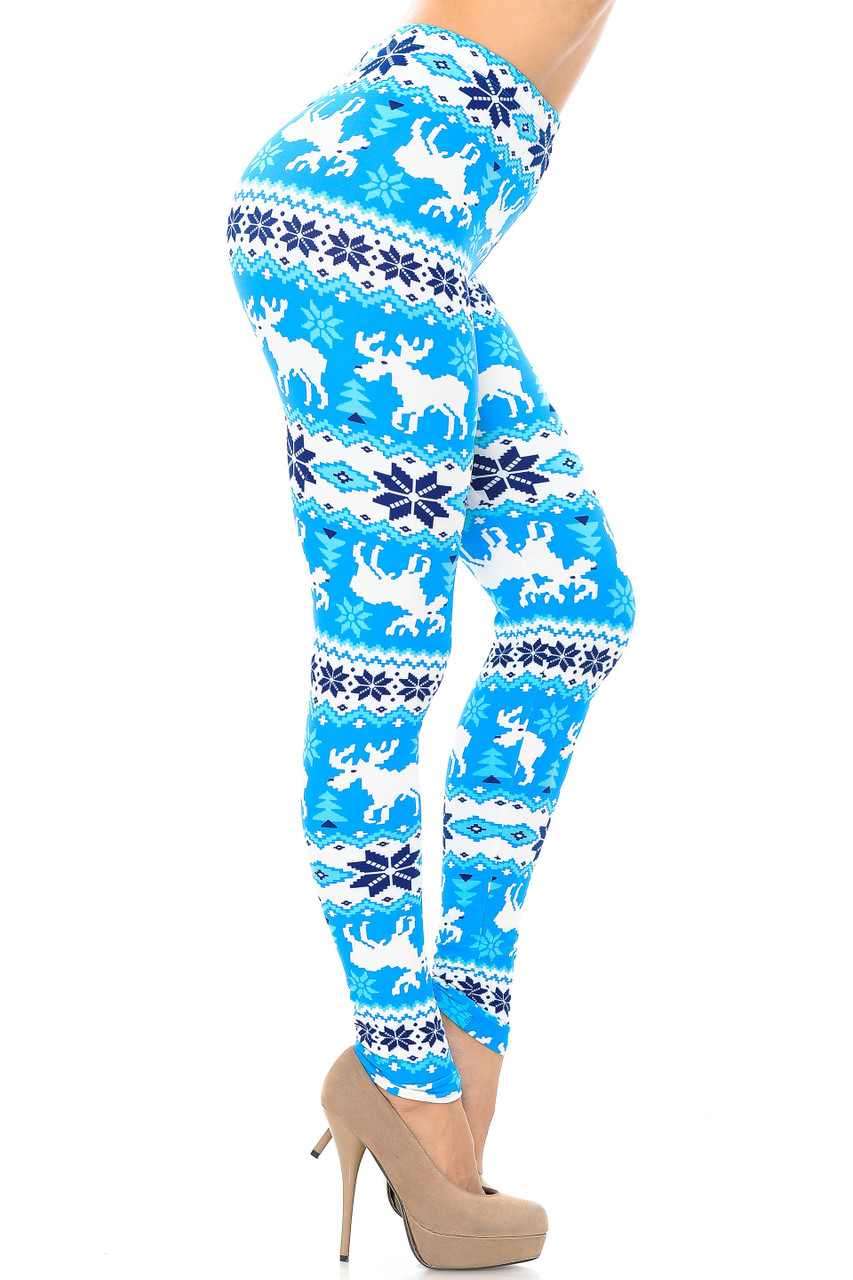 Right side view image of Buttery Soft Icy Blue Christmas Reindeer Extra Plus Size Leggings - 3X-5X