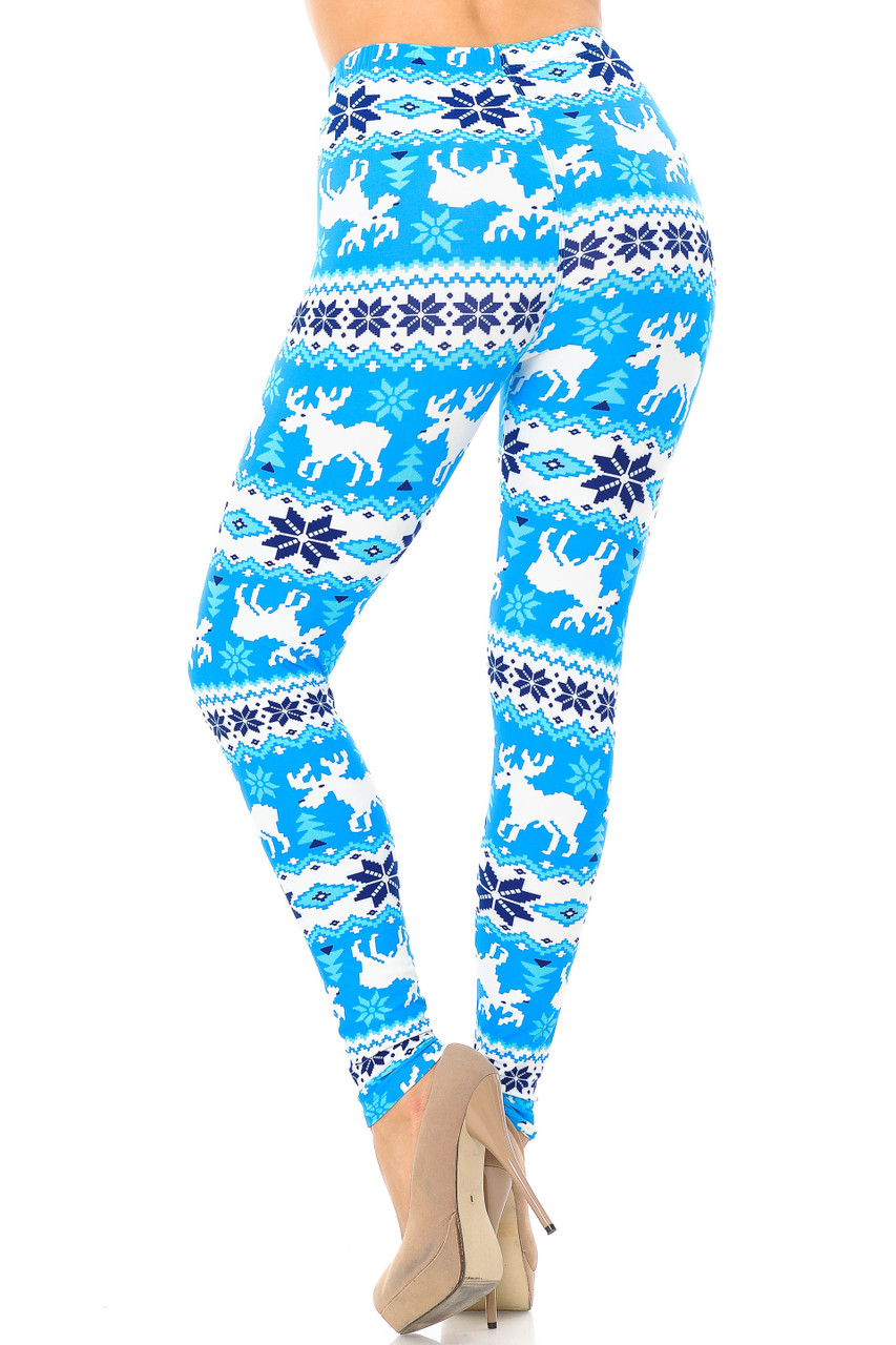 Back view of Buttery Soft Icy Blue Christmas Reindeer Extra Plus Size Leggings - 3X-5X