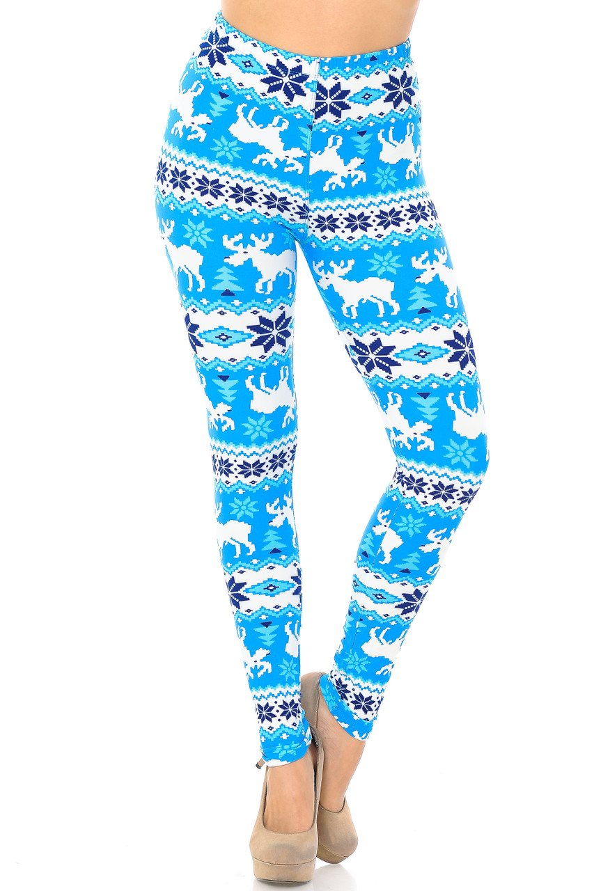 Front view image of our holiday themed Buttery Soft Icy Blue Christmas Reindeer Extra Plus Size Leggings - 3X-5X with a comfort elastic stretch waistband that comes up to about mid rise.