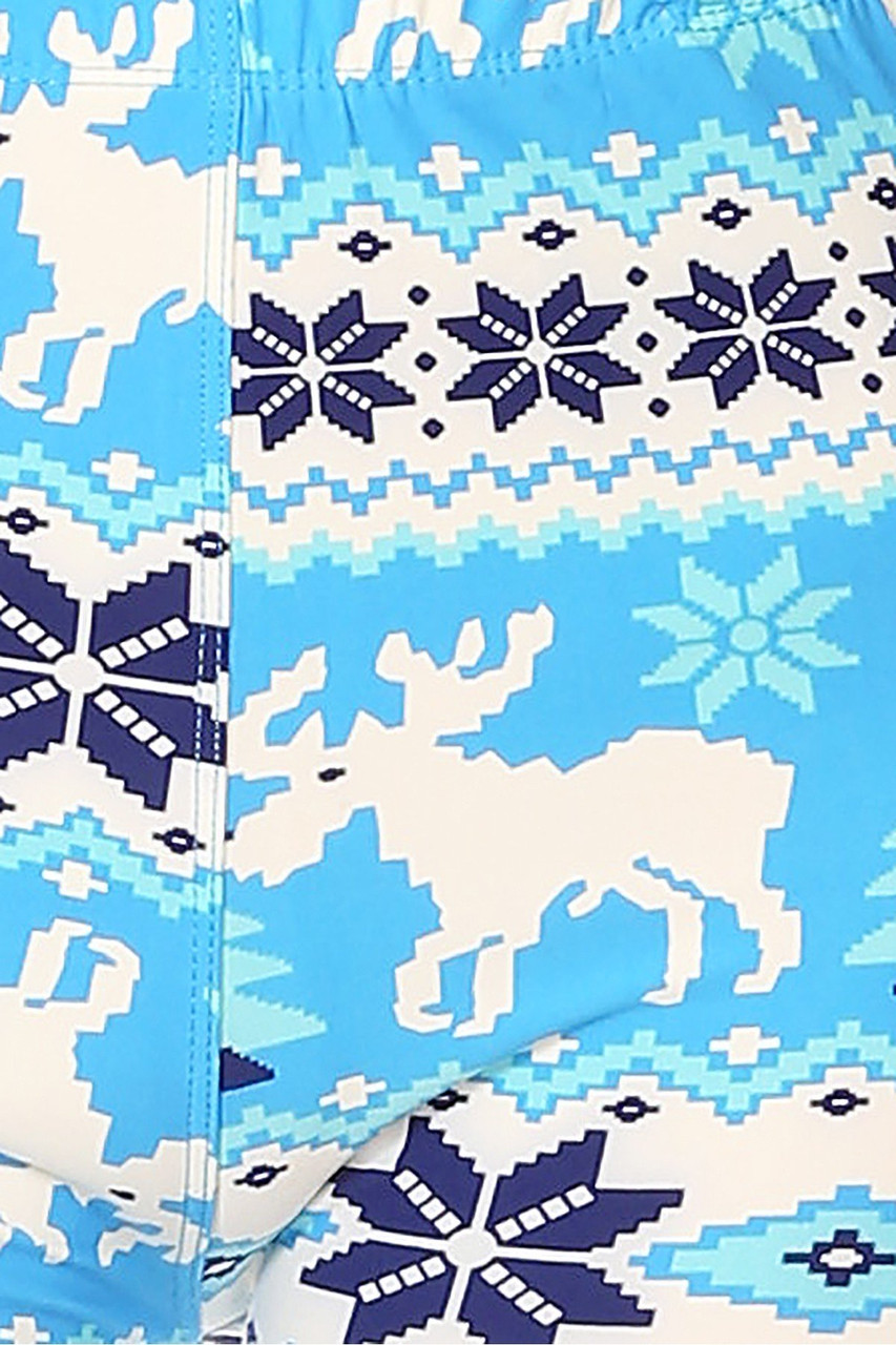 Close up design swatch image of Buttery Soft Icy Blue Christmas Reindeer Extra Plus Size Leggings - 3X-5X