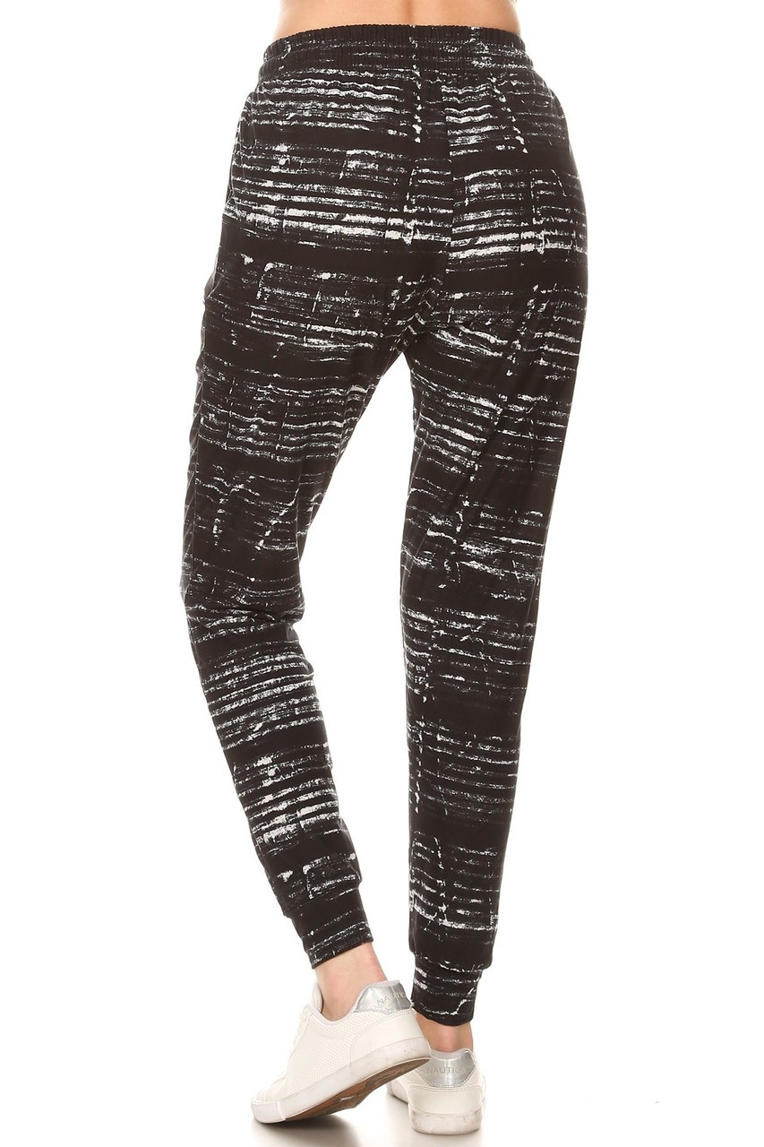 Back view of relaxed fit Buttery Soft Ebony Moondust Plus Size Joggers