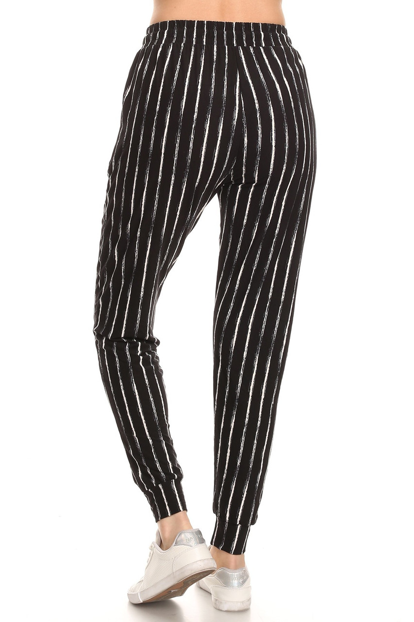 Back view image of relaxed fit Buttery Soft Rustic Pinstripe Joggers