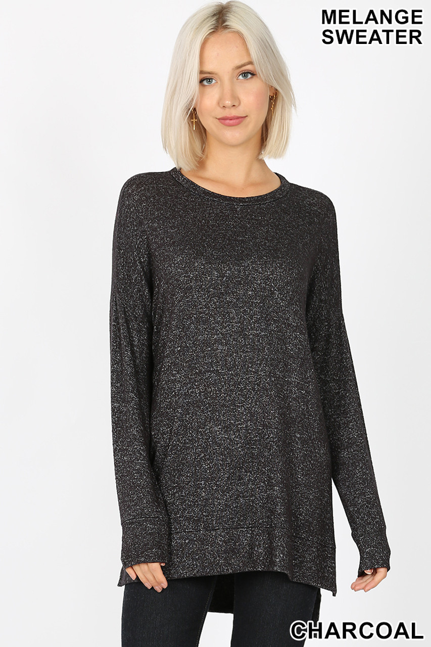 Front view image of charcoal Brushed Melange Round Neck HI-LOW Top