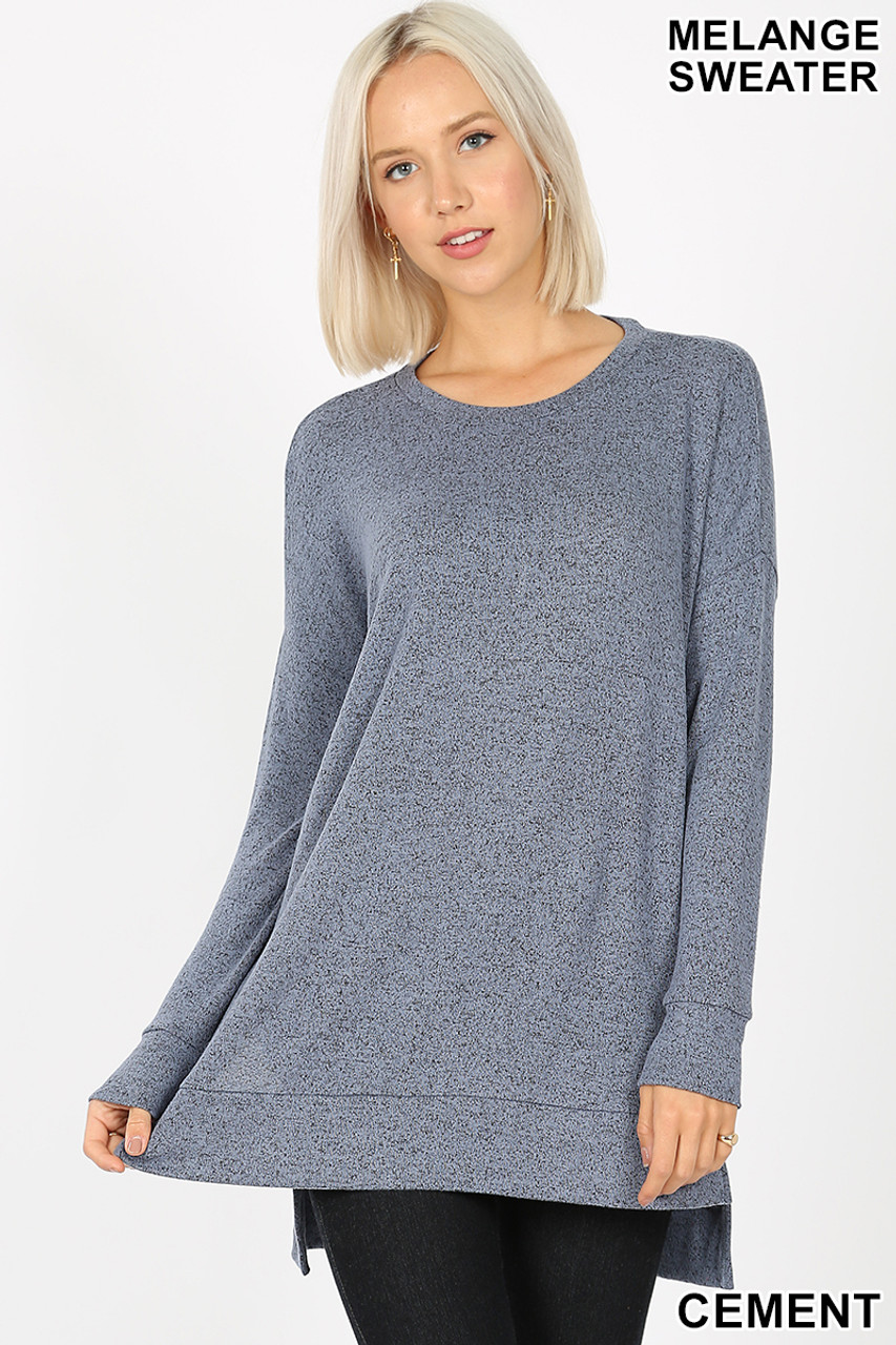 Front view image of cement Brushed Melange Round Neck HI-LOW Top