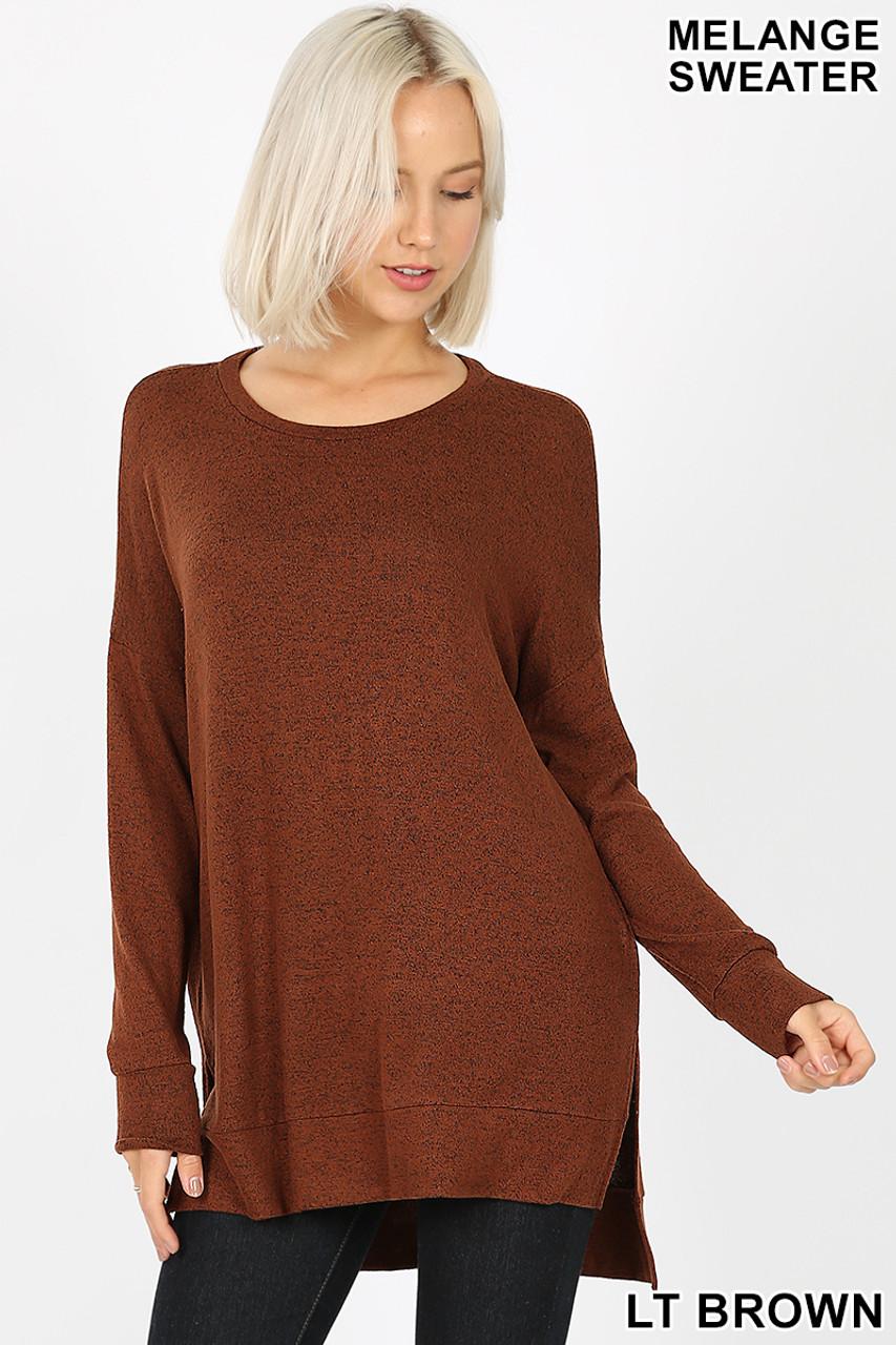 Front view image of light brown Brushed Melange Round Neck HI-LOW Top