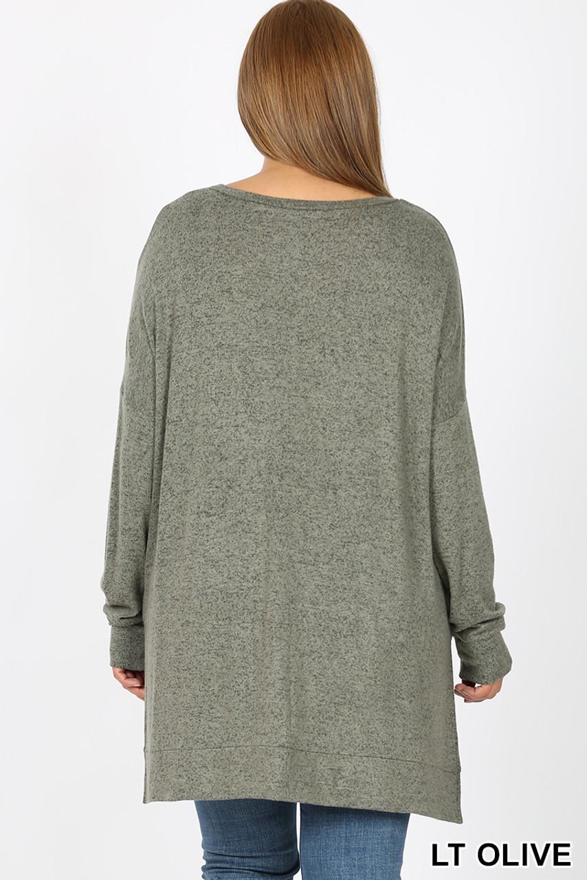 Back view of Light Olive Brushed Melange Round Neck HI-LOW Plus Size Top