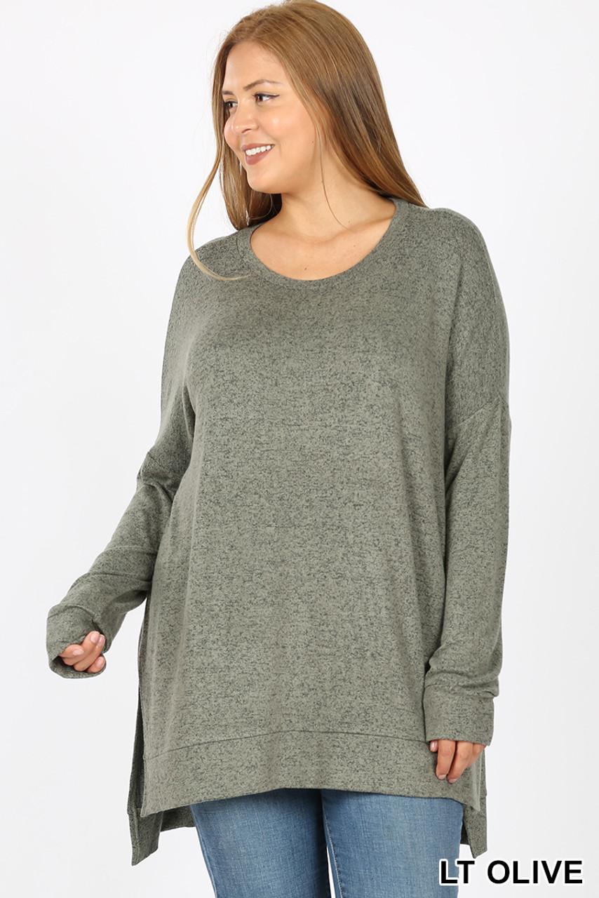 Front view image of Light Olive Brushed Melange Round Neck HI-LOW Plus Size Top