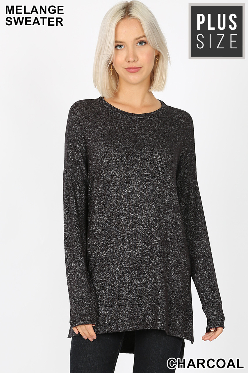 Front view image of Charcoal Brushed Melange Round Neck HI-LOW Plus Size Top
