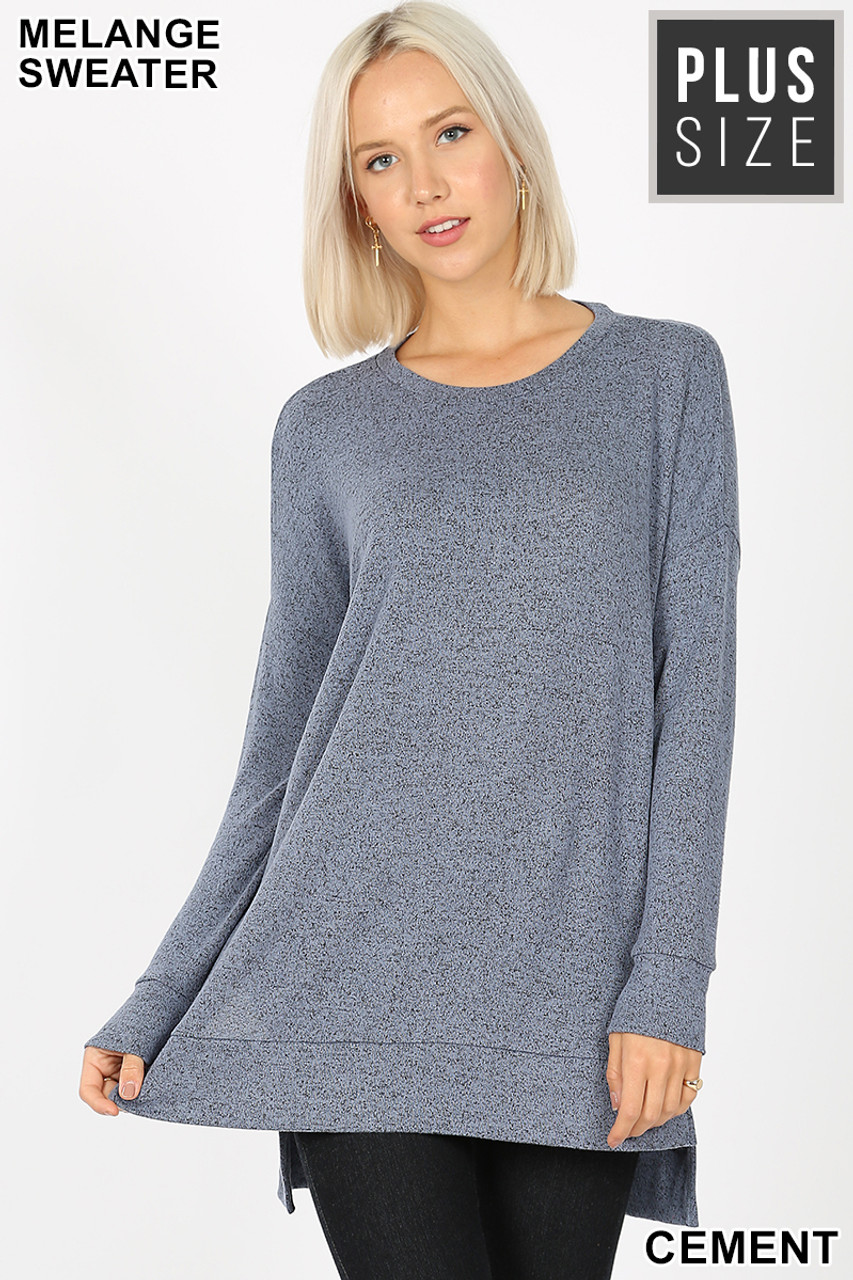 Front view image of Cement Brushed Melange Round Neck HI-LOW Plus Size Top