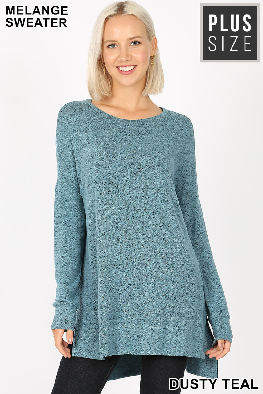Front view image of Dusty Teal Brushed Melange Round Neck HI-LOW Plus Size Top