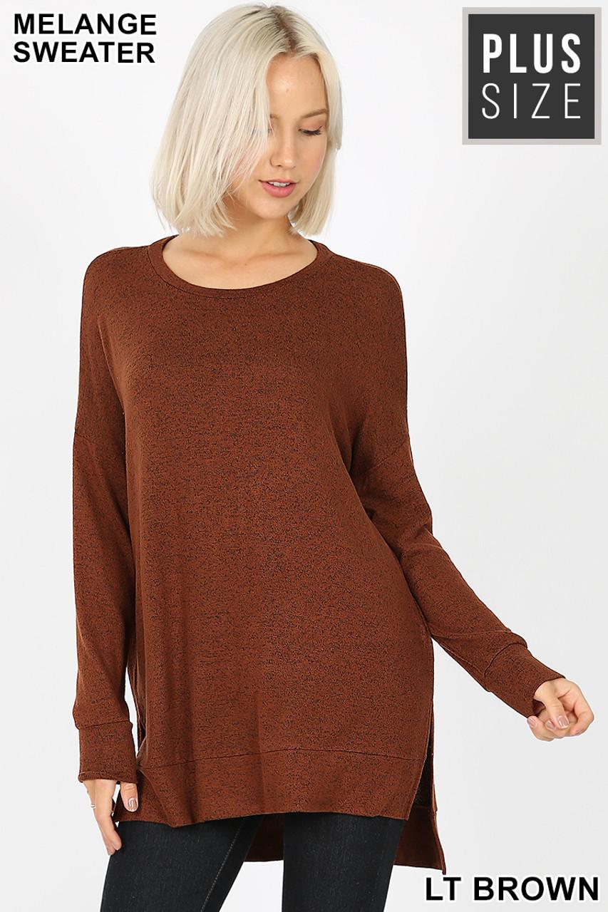 Front view image of Light Brown Brushed Melange Round Neck HI-LOW Plus Size Top