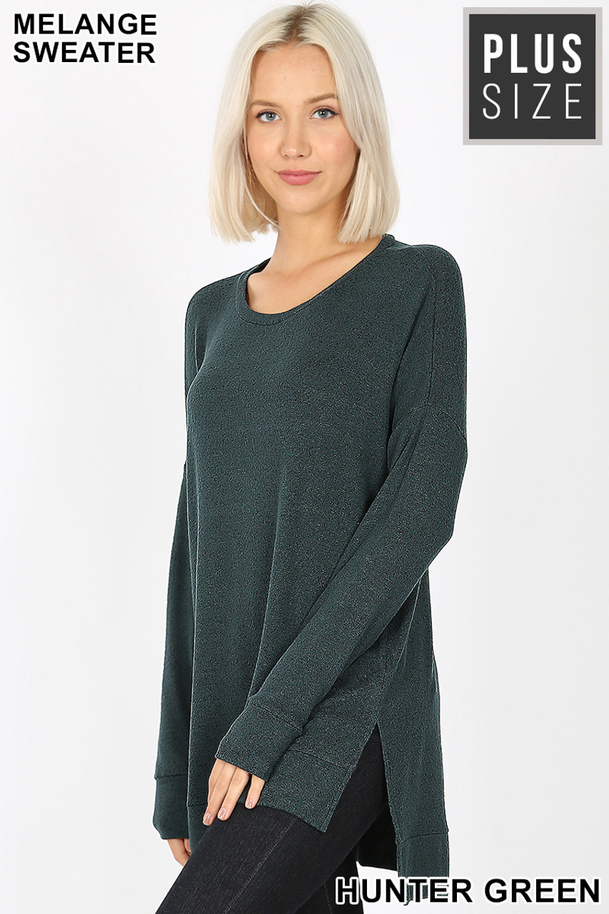 Partial Front view image of Hunter Green Brushed Melange Round Neck HI-LOW Plus Size Top