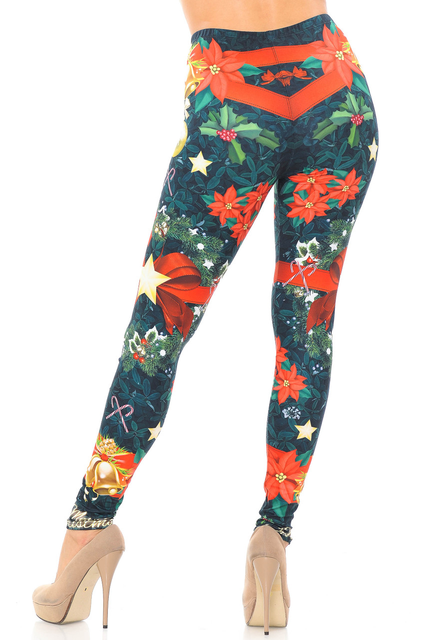 Back view image of our figure flattering Creamy Soft I Love Christmas Plus Size Leggings - USA Fashion™ that shows the a continued all over print.