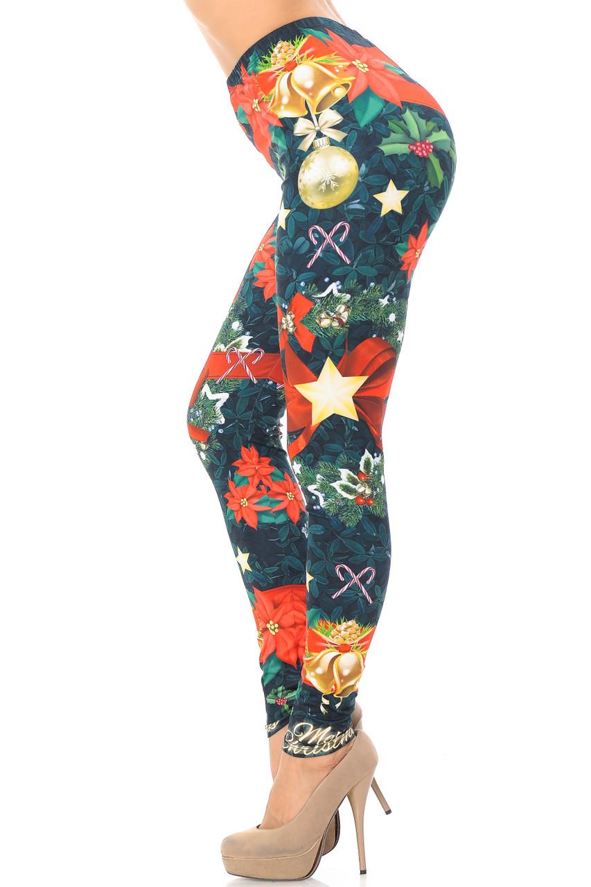 Left side view image of Creamy Soft I Love Christmas Extra Plus Size Leggings - 3X-5X - USA Fashion™