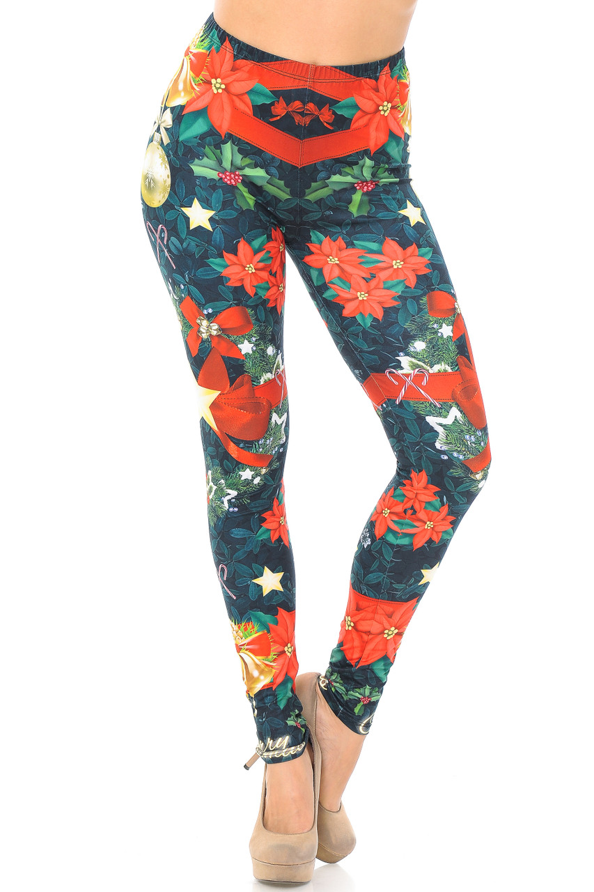 Front view of our Creamy Soft I Love Christmas Extra Plus Size Leggings - 3X-5X - USA Fashion™ with a mid rise elastic stretch waist.