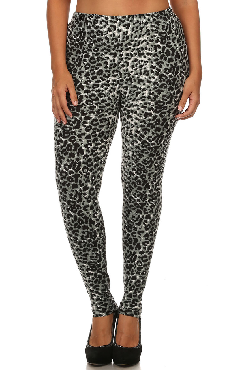 Front view image of our figure flattering Buttery Soft Snow Leopard Plus Size Leggings with a full length skinny leg cut.