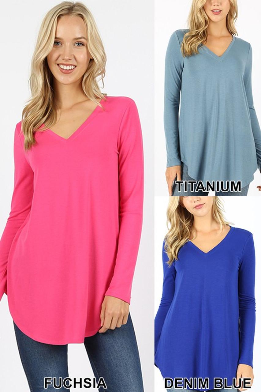 Fuchsia, titanium, and denim blue Premium V-Neck Round Hem Long Sleeve Top