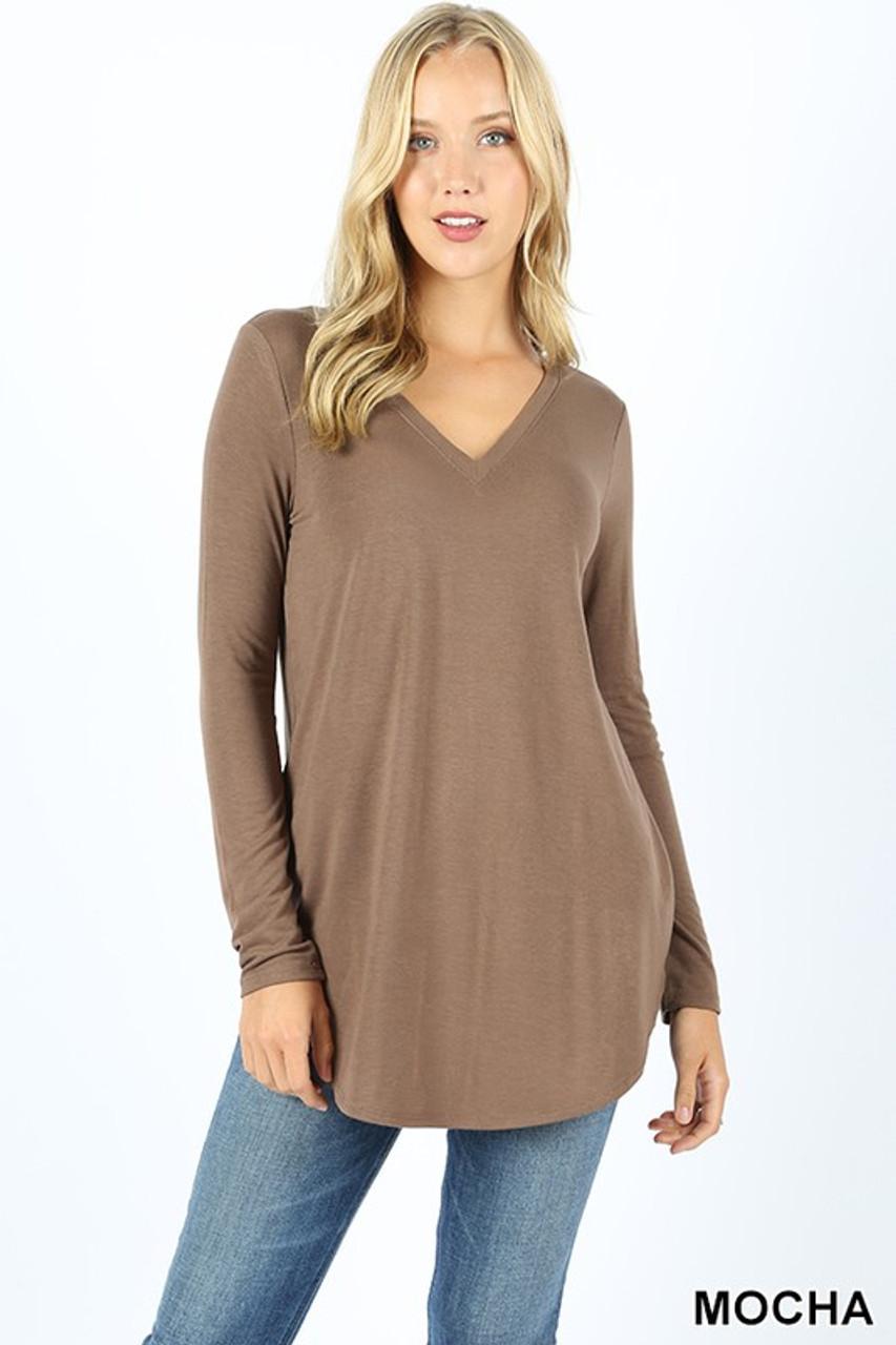 Mocha Premium V-Neck Round Hem Long Sleeve Top