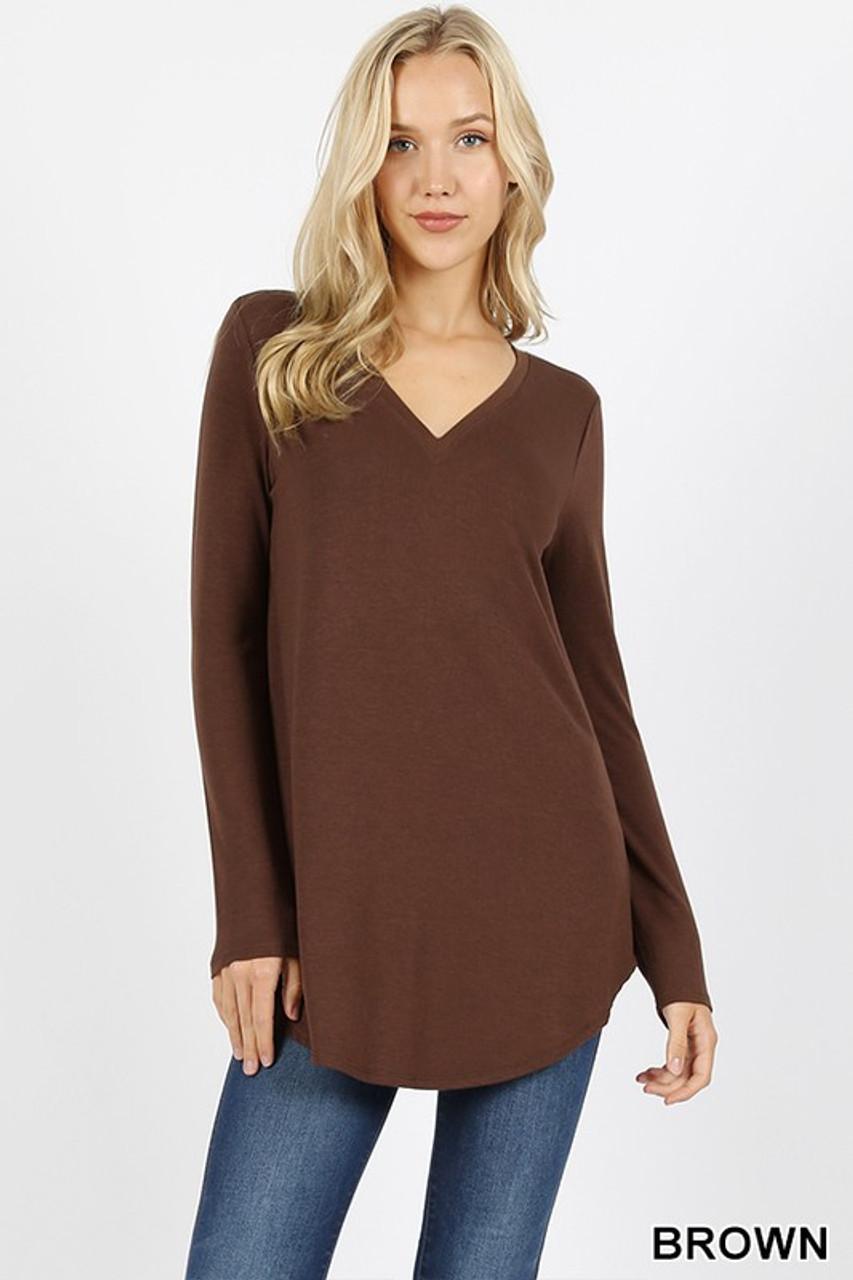 Brown Premium V-Neck Round Hem Long Sleeve Top