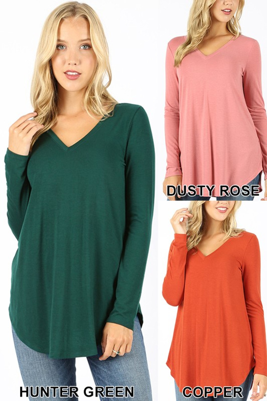 Hunter green, dusty rose, and copper Premium V-Neck Round Hem Long Sleeve Top