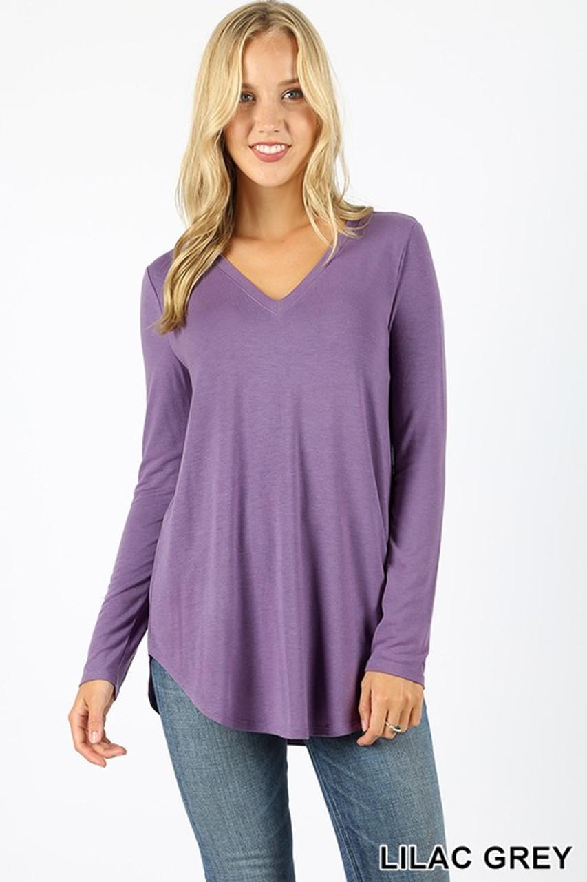 Lilac grey Premium V-Neck Round Hem Long Sleeve Top