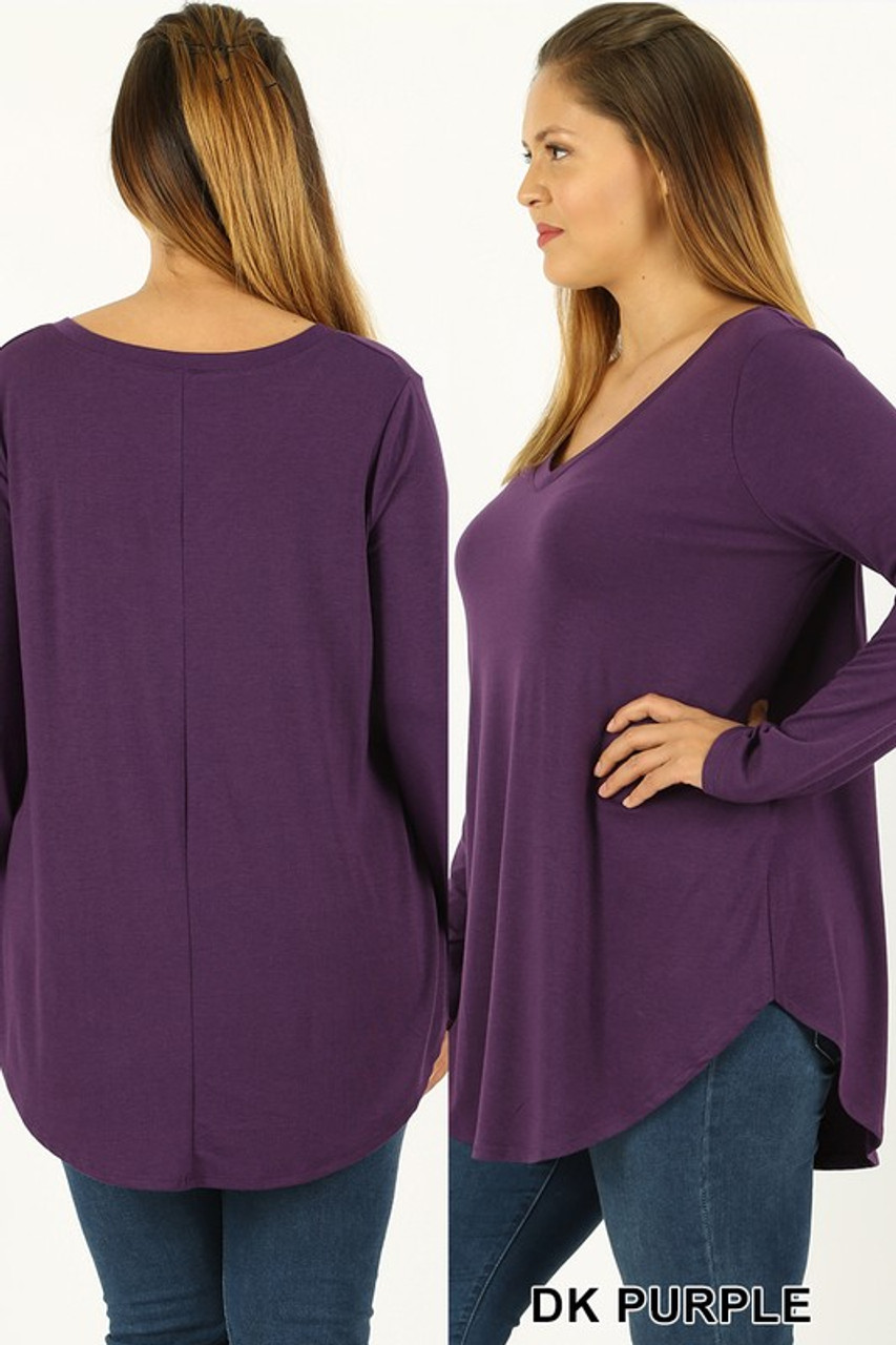 Dark Purple Premium V-Neck Round Hem Long Sleeve Plus Size Top